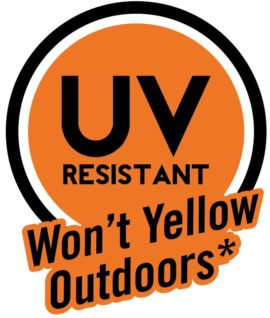 UV resistant won't yellow outdoors