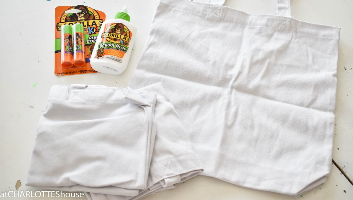 Gorilla Kids glue with white canvas bags
