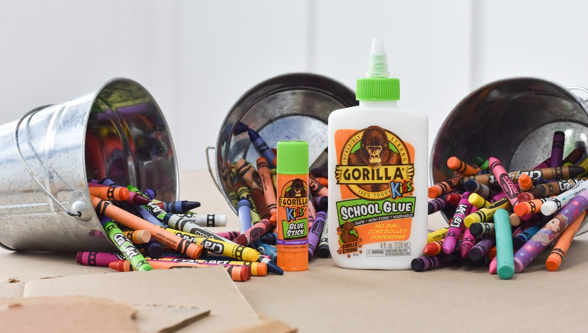 Gorilla Kids Glue products with crayons