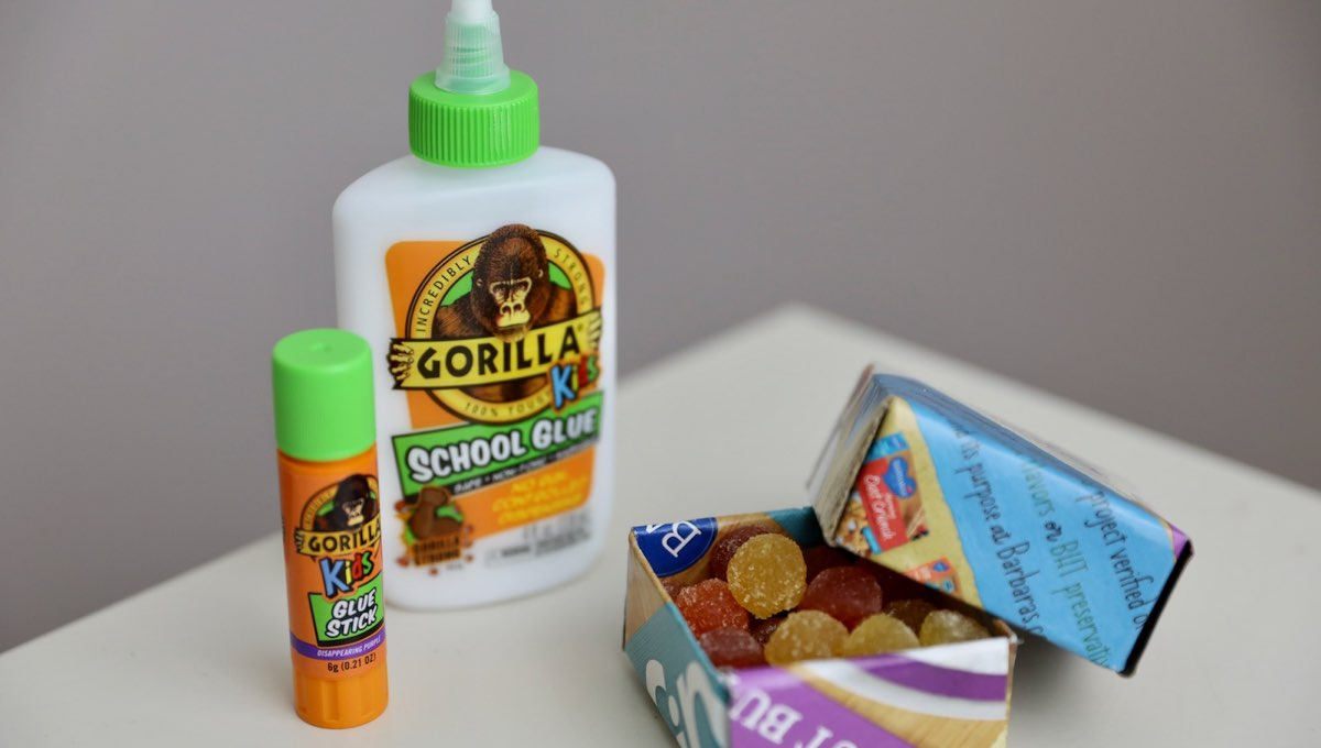 Gorilla Kids Glue products with finished cereal box snack box