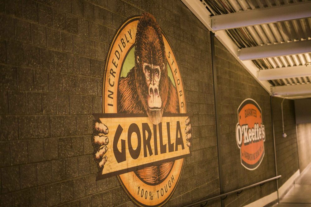 Gorilla glue logo on the store wall
